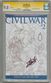 Civil War #2 Turner Sketch CGC 9.8 Signature Series Signed Stan Lee Marvel comic book